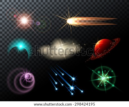 Glowing lights, stars, sparkles and comets on transparent background. - stock photo