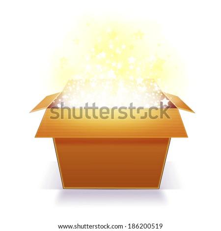 Glowing Magic box - stock photo