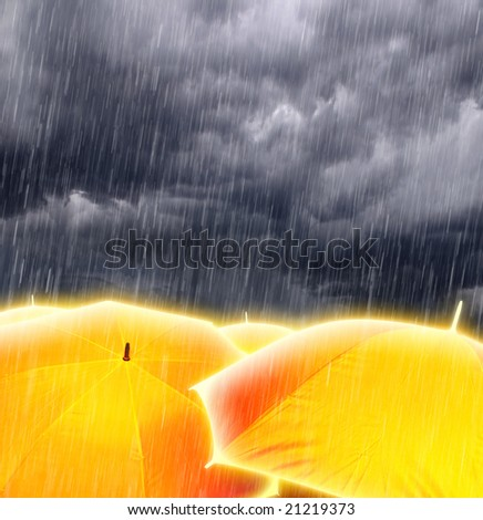 Glowing Magic Gold Umbrellas in Rainy Storm Clouds - stock photo