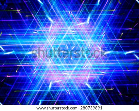 Glowing multicolored hexagon, new technology, computer generated abstract background - stock photo