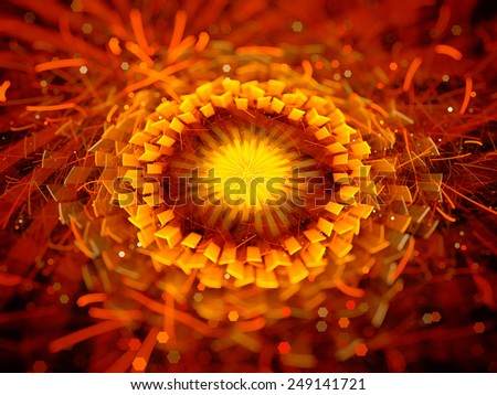 Glowing mysterious eye in hell, computer generated abstract background - stock photo