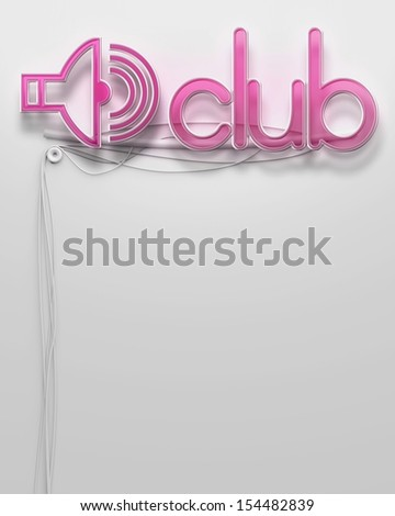 Glowing neon signboard with Club word and copyspace
