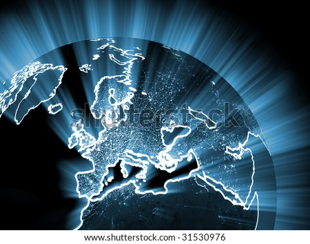 Glowing night europe - easy to change color in photoshop - stock photo
