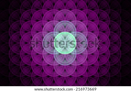 Glowing pink abstract fractal background with a detailed decorative flower of life pattern spreading from the center which is in shining green color, all against black color. - stock photo