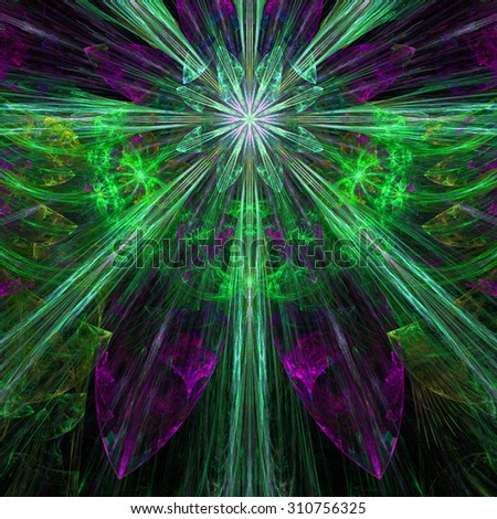 Glowing pink,purple,green,blue exploding flower/star fractal background with a detailed decorative pattern, all in high resolution. - stock photo