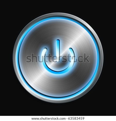 Glowing power  button - stock photo