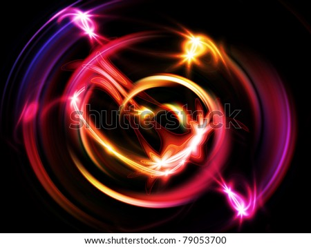 Glowing purple light rings  in motion vortex. - stock photo