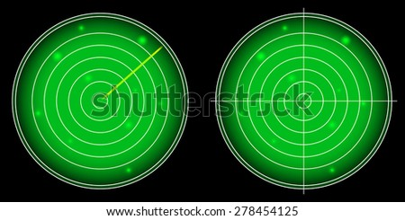 Glowing Radar Screen with Luminous Targets illustration - stock photo