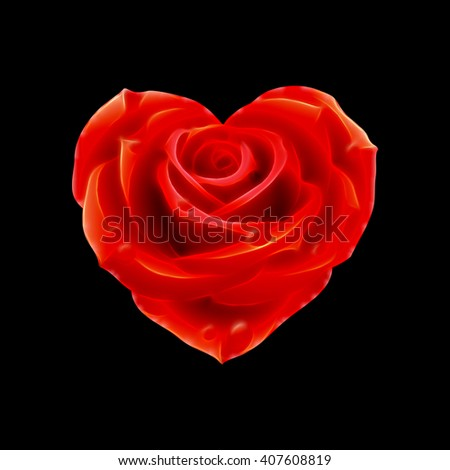 Glowing red rose heart over black background - stock photo