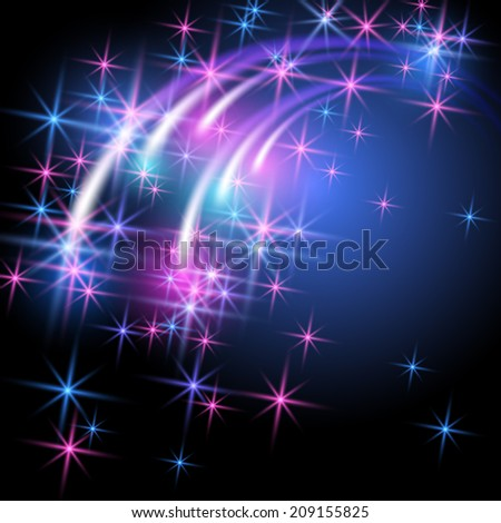 Glowing salute and firework with sparkle stars - stock photo