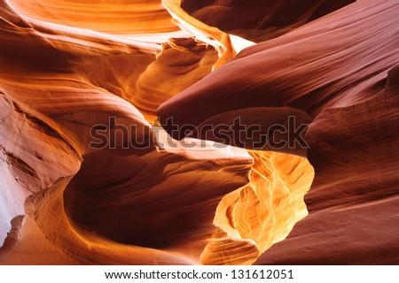 Glowing sandstone in Lower Antelope Slot Canyon, Page, Arizona, USA - stock photo