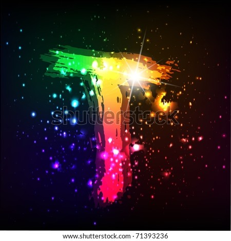 Glowing shiny graffiti letter on space background. Letter T - stock photo