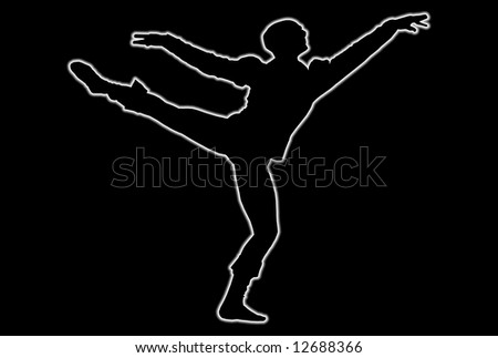 Glowing silhouette of a male dancer over black background - stock photo