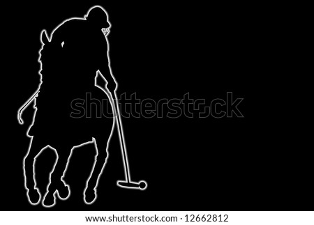 Glowing silhouette of a polo player over black background - stock photo