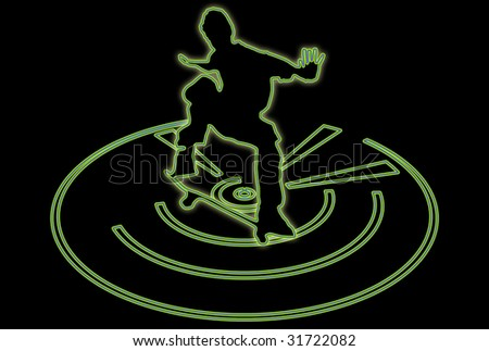 Glowing silhouette of a skateboarder over abstract background - stock photo