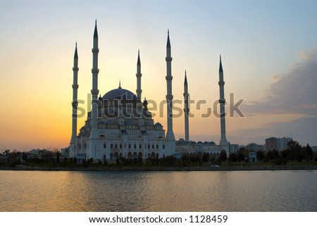 Glowing Sky behind Mosque - stock photo