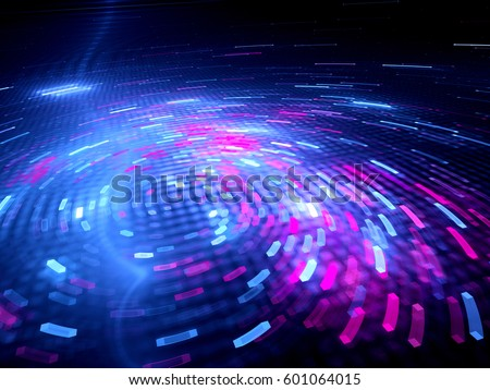 Glowing spinning colorful big data, computer generated abstract background, 3D rendering