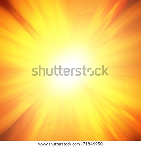 Glowing sunset on a bright red background - stock photo