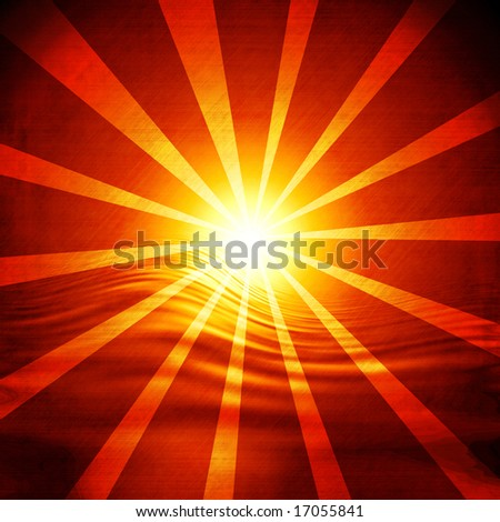 Glowing sunset with rays on a red background