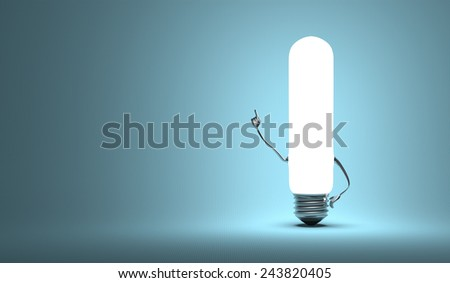 Glowing tubular light bulb character in aha moment on blue background - stock photo