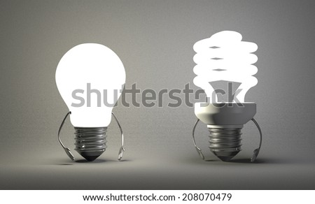 Glowing tungsten light bulb character and fluorescent one on gray textured background