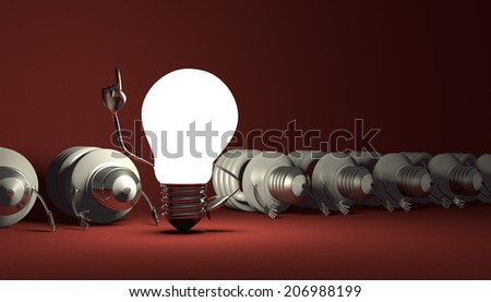Glowing tungsten light bulb character in moment of insight standing among many switched off lying fluorescent ones on red textured background