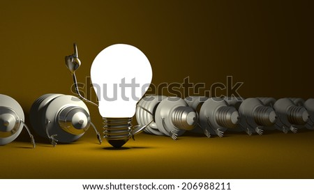 Glowing tungsten light bulb character in moment of insight standing among many switched off lying fluorescent ones on yellow textured background
