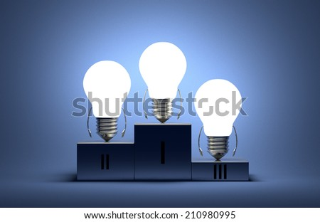 Glowing tungsten light bulb characters on podium on blue textured background - stock photo