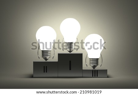 Glowing tungsten light bulb characters on podium on gray textured background - stock photo