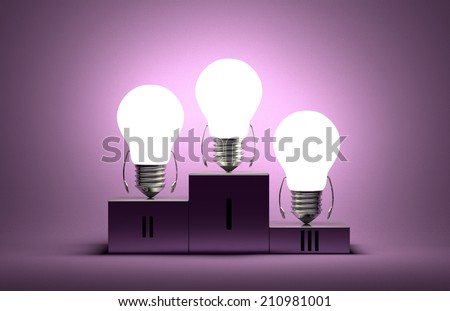 Glowing tungsten light bulb characters on podium on violet textured background - stock photo