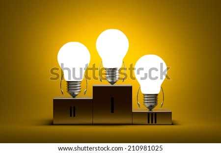 Glowing tungsten light bulb characters on podium on yellow textured background - stock photo