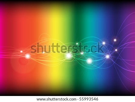 Glowing Waves on Rainbow Background