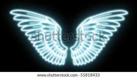 glowing wings - stock photo