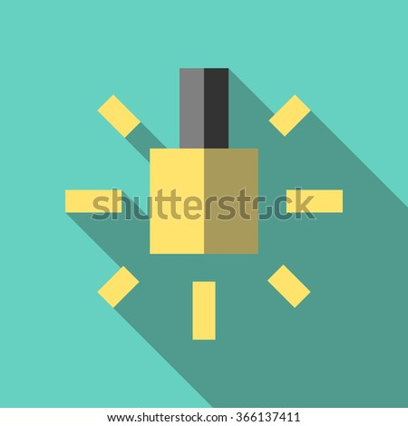 Glowing yellow lightbulb icon. Inspiration, insight, invention, idea, innovation, hint and advice concept. Flat style - stock photo