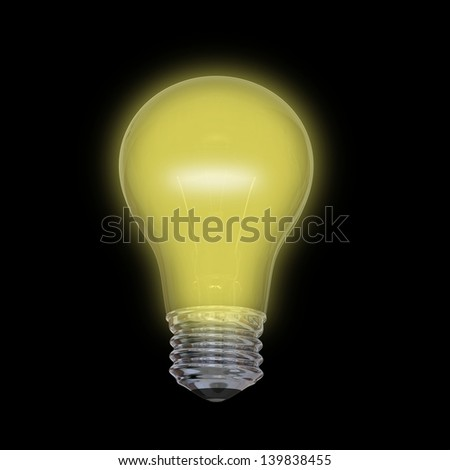 Glowing yellow lightbulb isolated on black background