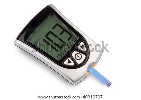 Glucometer isolated against a white background showing a good result - stock photo