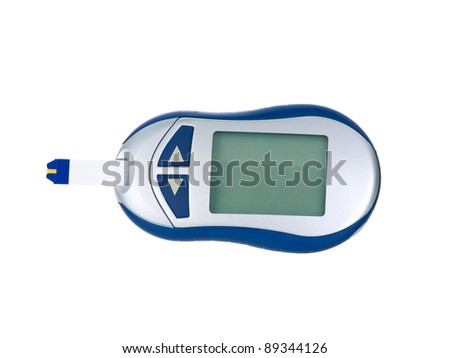 Glucometer  isolated on pure white background - stock photo