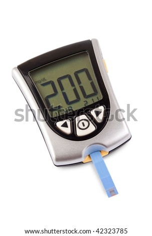Glucometer isolated with a high result against a white background - stock photo