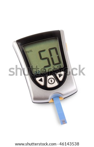 Glucometer isolated with a low result against a white background - stock photo