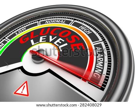 Glucose level conceptual meter indicate maximum, isolated on white background - stock photo