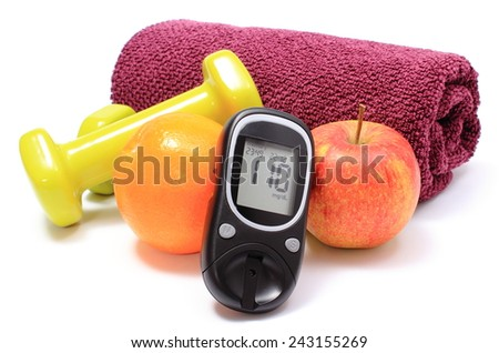 Glucose meter, fresh fruits, dumbbells and purple towel for using in fitness, concept for diabetes lifestyle and healthy nutrition - stock photo