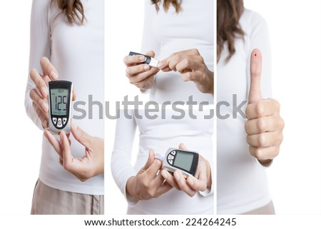 glucose test collage consisting of four pictures: a prick, a thumb up with a blood drop, blood drop in a reactive strip and a glucometer with a correct value isolated on a white background - stock photo