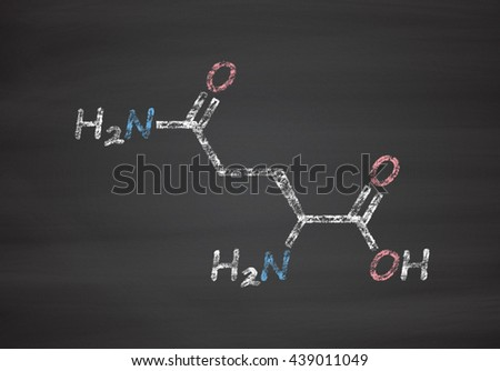 Glutamine (l-glutamine, Gln, Q) amino acid molecule. Chalk on blackboard style illustration. - stock photo