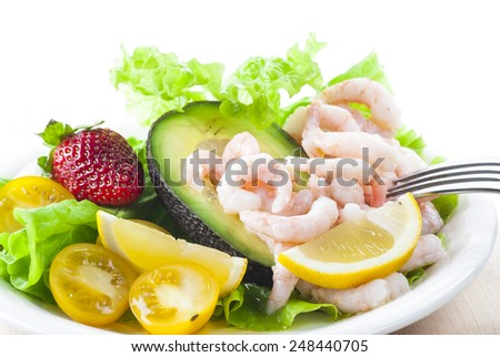 Gluten and lactose free shrimp salad. New version. - stock photo
