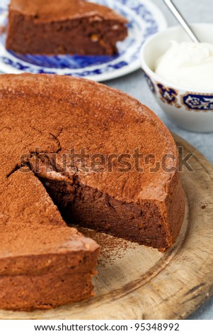 Gluten free chocolate orange cake made with ground almonds instead of flour - stock photo