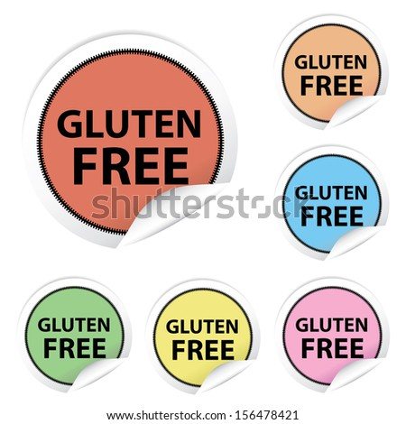 Gluten Free colorful stickers, icons, labels, signs, symbols or tags isolated on white background - jpeg format. - stock photo