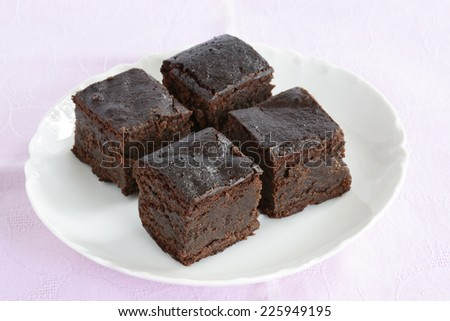 Gluten free, grain free chocolate brownies for a healthy snack - stock photo