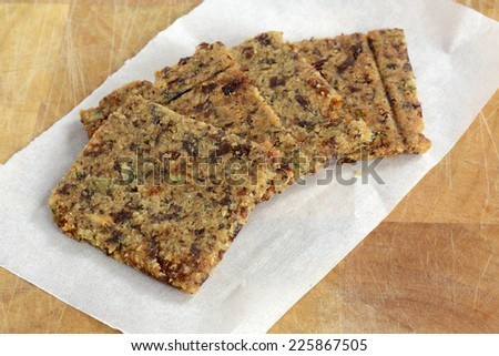 Gluten free, grain free cranberry, almond, rosemary and sunflower seed crackers