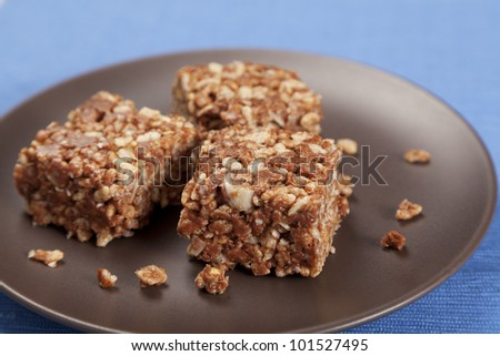 Gluten free peanut butter and puffed rice cakes - stock photo