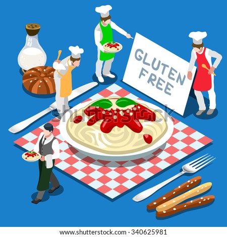 Gluten Free Plate of Pasta Italian Recipe. Flat 3d Isometric Colorful Concept of Mais or Rice Pasta Products. Simply Delicious Taste of Home JPG JPEG Image Drawing Object Picture Graphic Art - stock photo